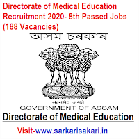 Directorate of Medical Education Recruitment 2020- 8th Passed Jobs (188 Vacancies)