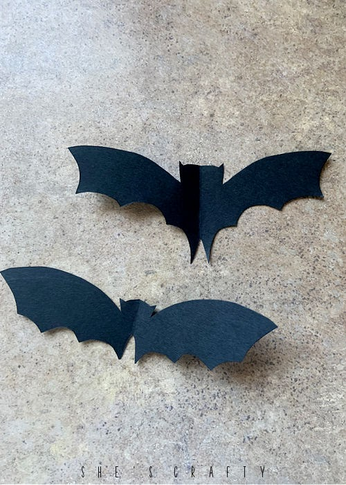 Halloween bat and branch table centerpiece - Trace bats onto black paper