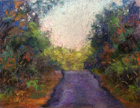 Thumbnail study work of a landscape from Coorg using soft pastels. By Manju Panchal
