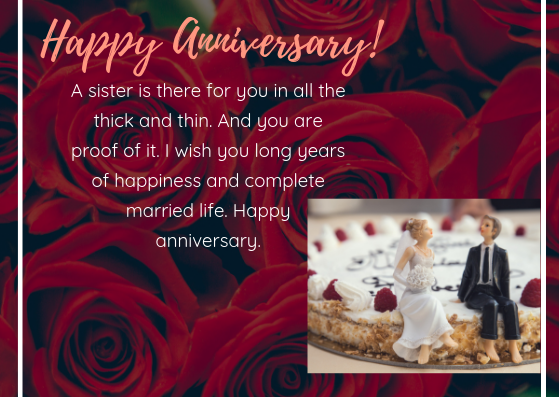 Happy anniversary for sister
