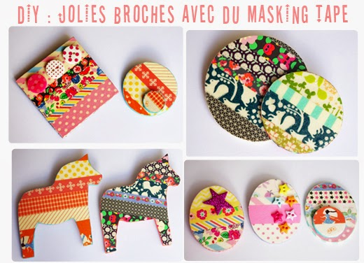 diy r aliser des broches fun et color es avec du washi masking tape paperblog. Black Bedroom Furniture Sets. Home Design Ideas