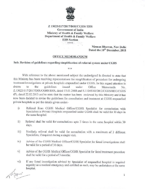 Revision of Guidelines regarding simplification of referral system under CGHS