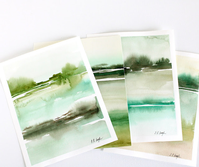 Green Abstract Watercolor Landscapes by Elise Engh