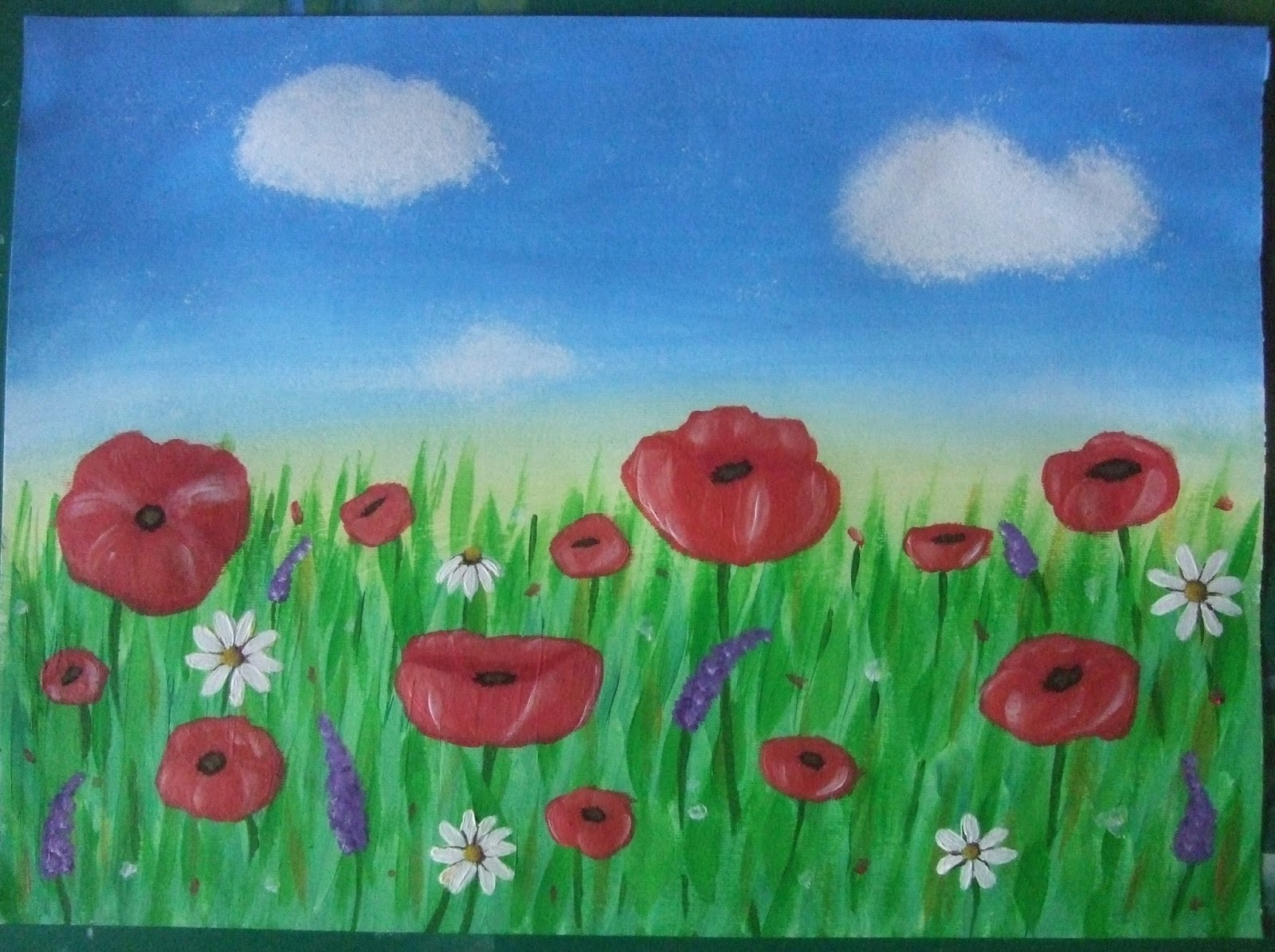 Before And Crafterwards Acrylic Painting Poppy Field