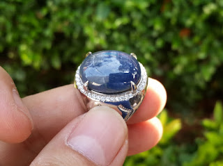 Blue Safir Big Size Terjangkau SF005 Ikatan Perak Mewah
