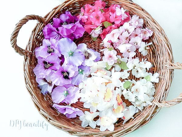 basket of flower petals