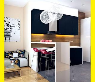 Small modern loft kitchen with bar