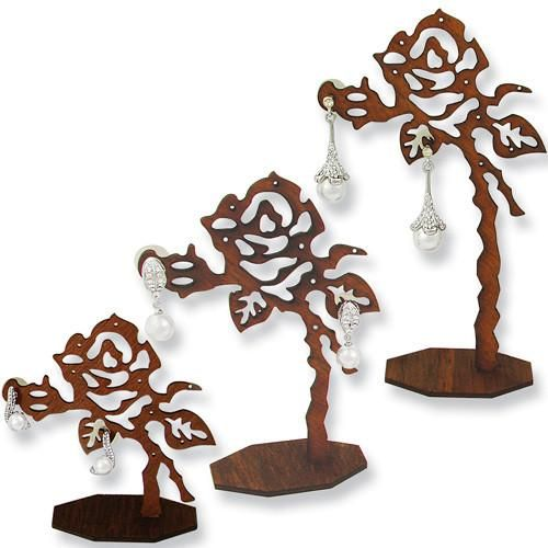 #DE-413W Wooden Rose Shaped Earring Display Stand Set