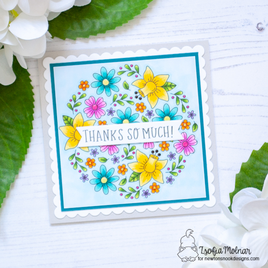 Floral Thank You Card by Zsofia Molnar | Floral Roundabout Stamp Set and Frames Square Die Set by Newton's Nook Designs  #newtonsnook #handmade