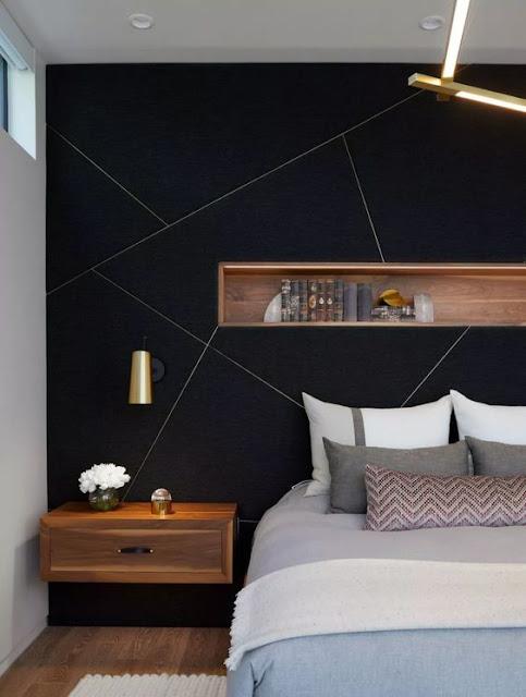 Geometrik formlu siyah yatak odası
