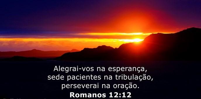 Alegrai-vos na esperança, sede pacientes na tribulação, perseverai na oração.