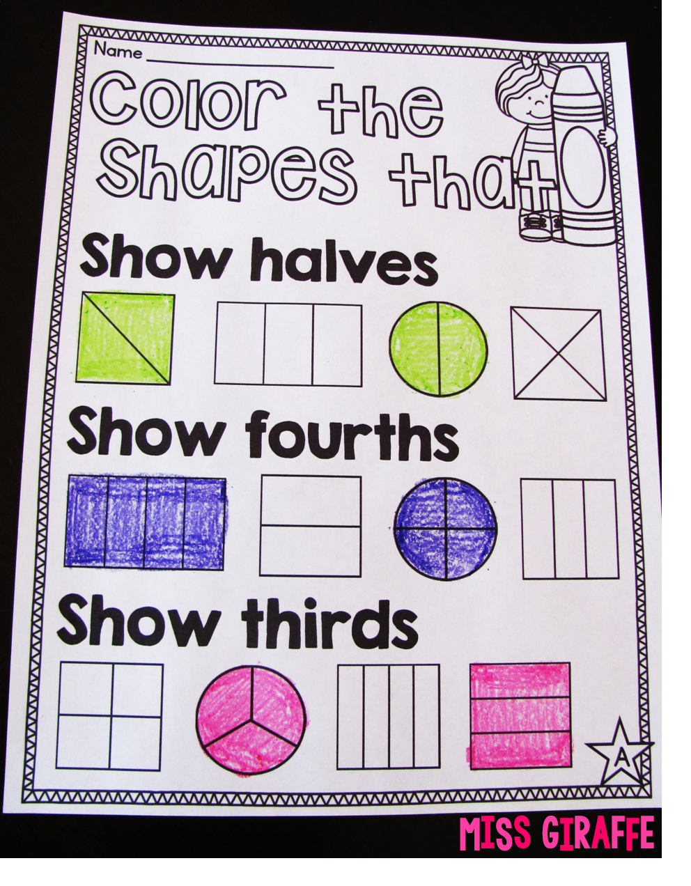 small resolution of Miss Giraffe's Class: Fractions in First Grade