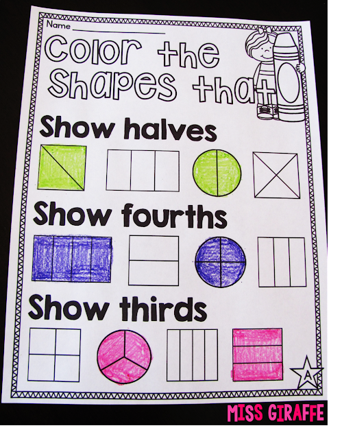 Fractions halves fourths thirds worksheet to practice what each term means!