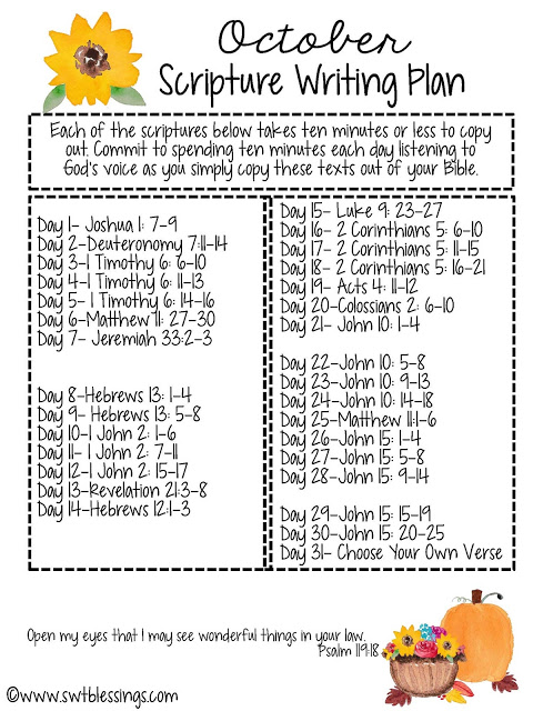 Sweet Blessings: October Scripture Writing Plan: Prayer
