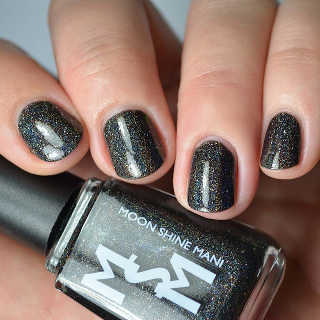 linear black holographic nail polish swatch