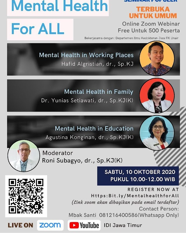 Webinar Mental Health For All Sabtu, 10 Oktober 2020