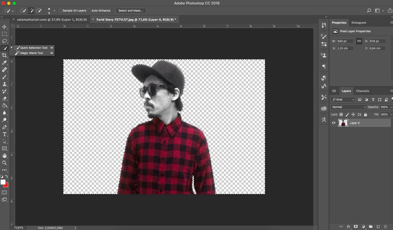 cara menyeleksi foto yang akan dihapus background nya di photoshop