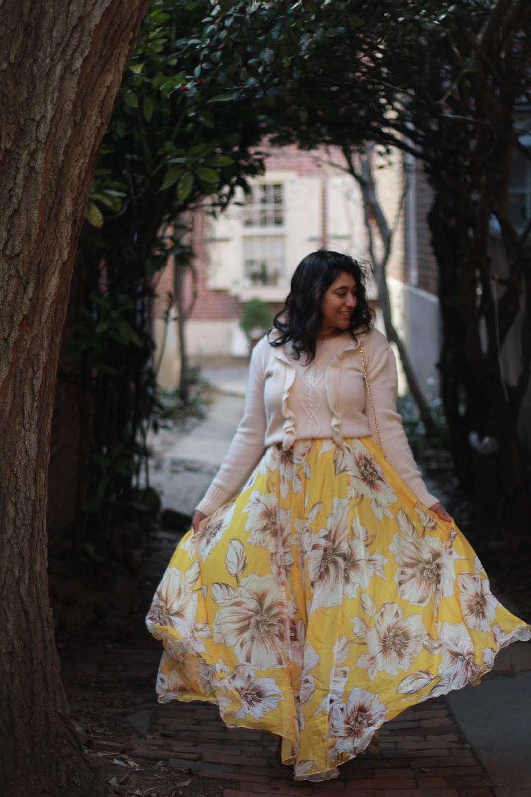 Yellow ChicWish Floral Maxi Skirt