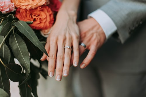 couple showing their hands with wedding rings