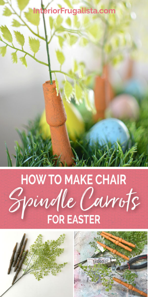 An upcycled Easter centerpiece box with faux wheatgrass, chair spindle carrots, and DIY speckled eggs for a fun budget Easter table decoration idea. #chairspindlecarrots #woodencarrots #spindlecrafts