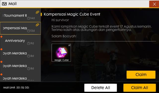 Kompensasi Magic Cube Gratis Event Kemerdekaan 17 Agustus Free Fire