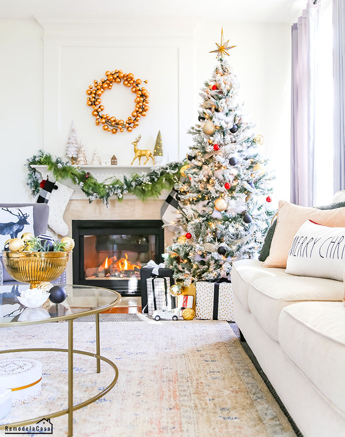 Black and gold family room for Christmas