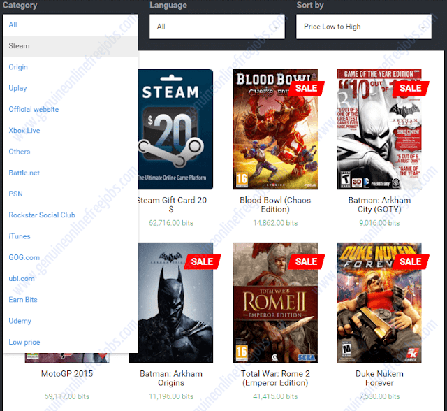 Choosing PC games on xapo store