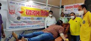 समाजसेवियों ने रक्तदान कर राकेश श्रीवास्तव को दी विदाई   #NayaSabera