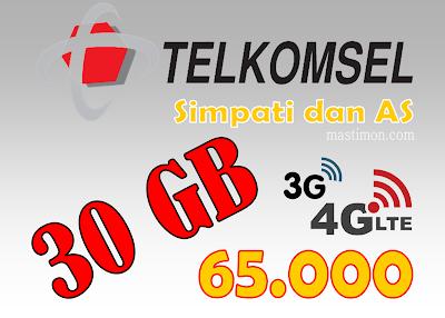 Paket internet murah Telkomsel kartu AS dan Simpati hanya 65.000 dapat 30GB