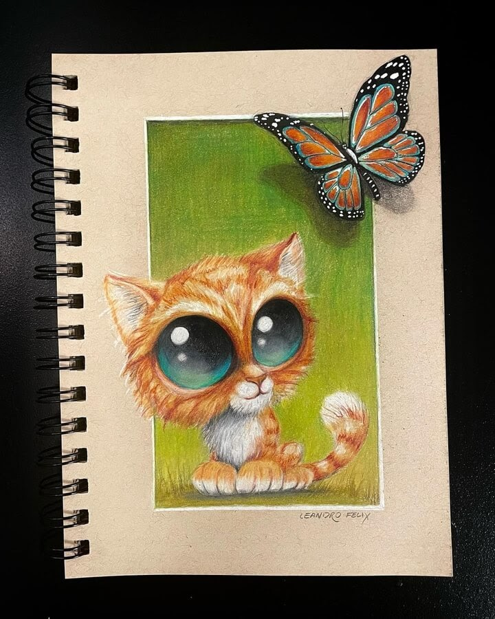 08-Wide-eyed-cat-and-the-butterfly-Leandro-Felix-www-designstack-co