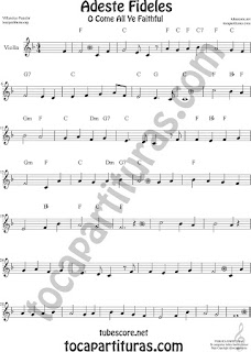 Violín Partitura de Adeste Fideles Sheet Music for Violin O come All Ye Faithful Music Scores