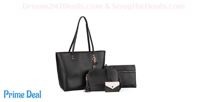 50% off GLITZALL Women's Tassel Tote,Satchel Bag, Handbag, Card Holder 4pcs Set
