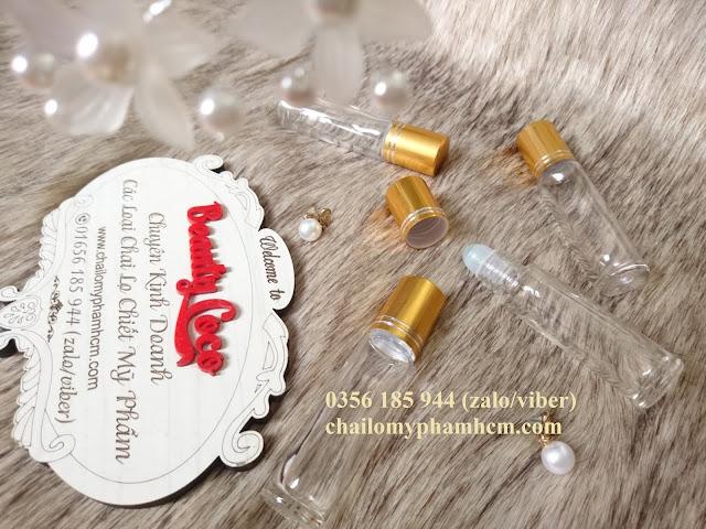 Chai bi lăn 10ml trong nắp vàng chiết nước hoa