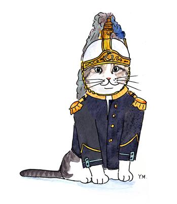 Cat in an uniform by Yukié Matsushita