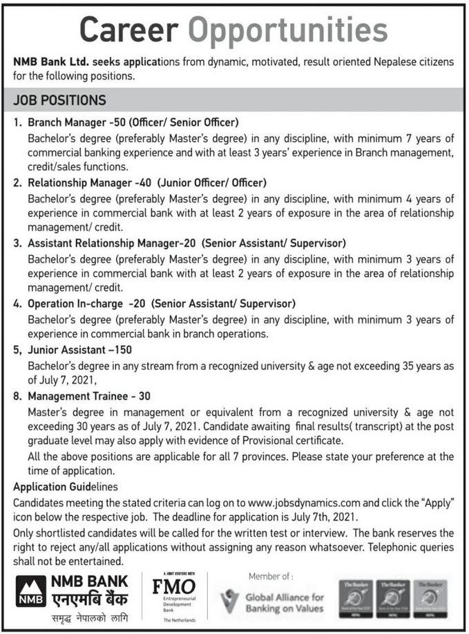 Job Vacancy in NMB Bank Nepal