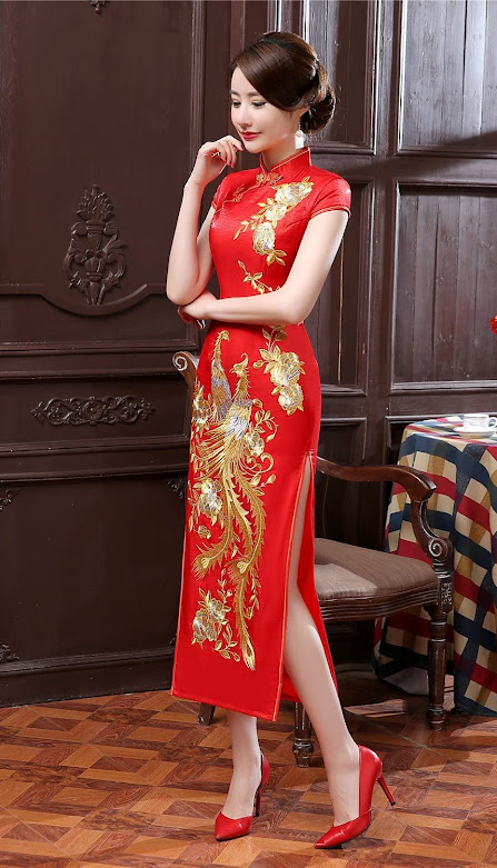Red Cheongsam Qipao Dresses For Women