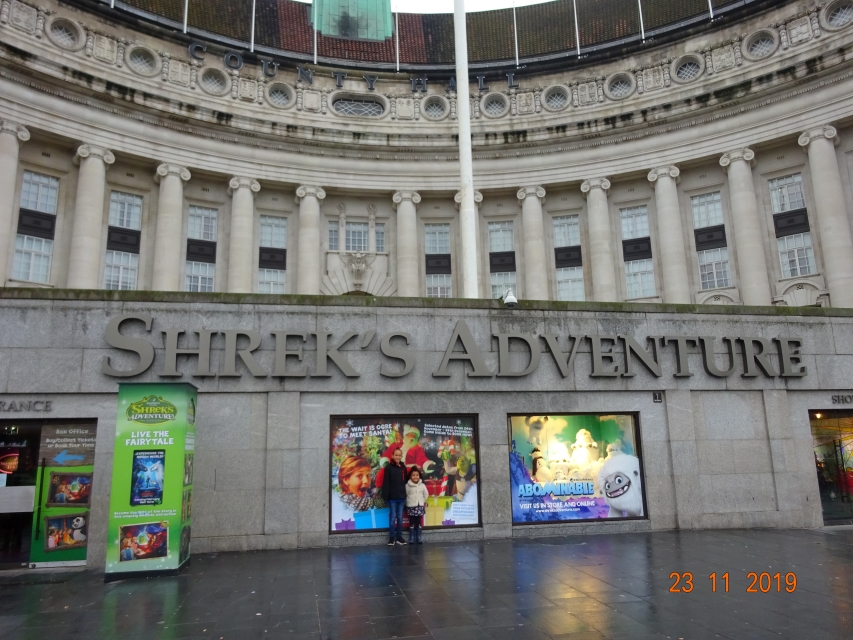 Outside Shrek's Adventure on the South Bank
