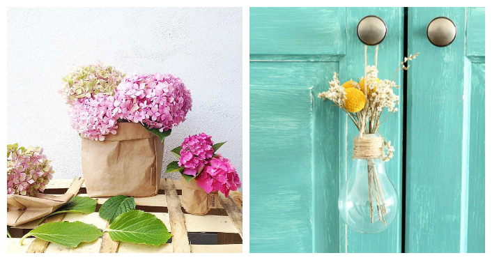 hortensia y bombilla florero
