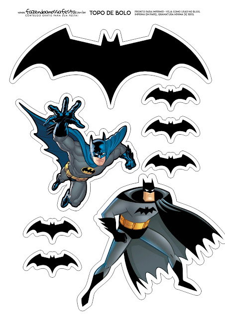 Batman: Toppers para Tartas, Tortas, Pasteles, Bizcochos o Cakes para Imprimir Gratis.