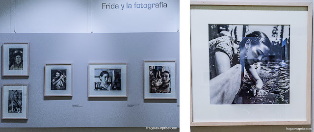 Fotos de Frida Kahlo expostas no Museu Casa de Frida Kahlo, na Cidade do México