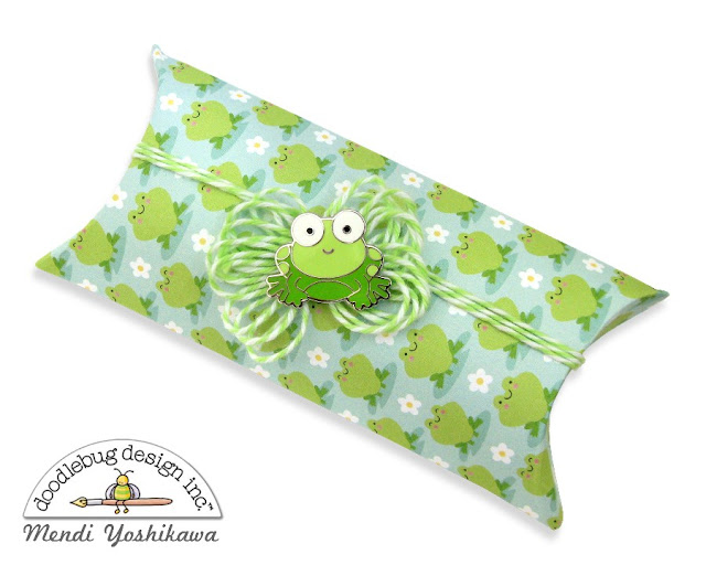 Doodlebug Design Spring Things Pillow Box Gift featuring Collectible Pins by Mendi Yoshikawa