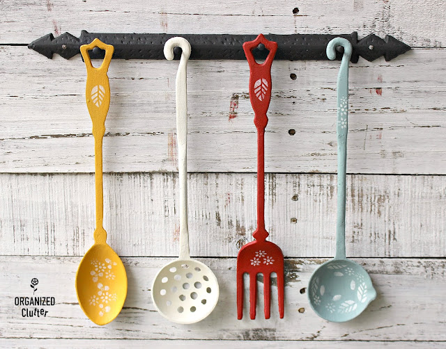 Upcycled Garage Sale Utensil Set #walldecor #upcycle