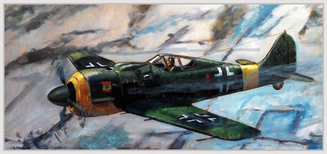 Pintura al óleo de un Focke Wulf 190 de la escuadrilla azul Armyna