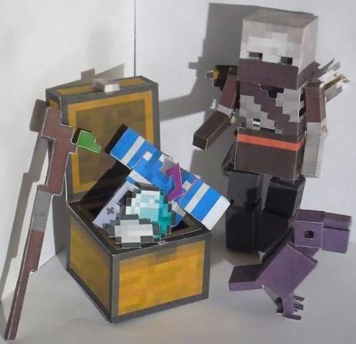 Papermau Minecraft Skeleton Robber And Crow Paper Toys In By