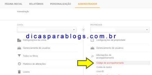 Código de acompanhamento Google Analytics