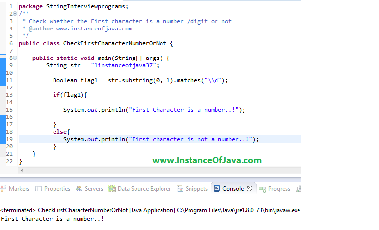 Check first character string number digit java