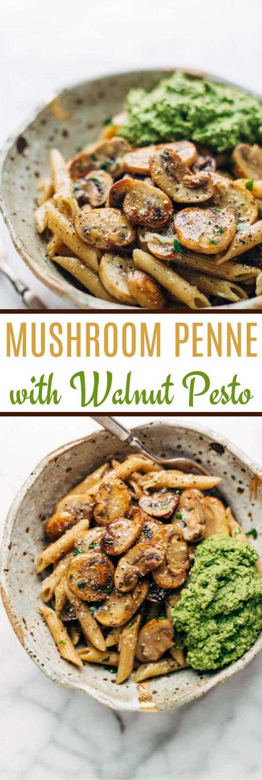Simple Mushroom Penne with Walnut Pesto #dinner #pasta #vegetarian #weeknight #recipes