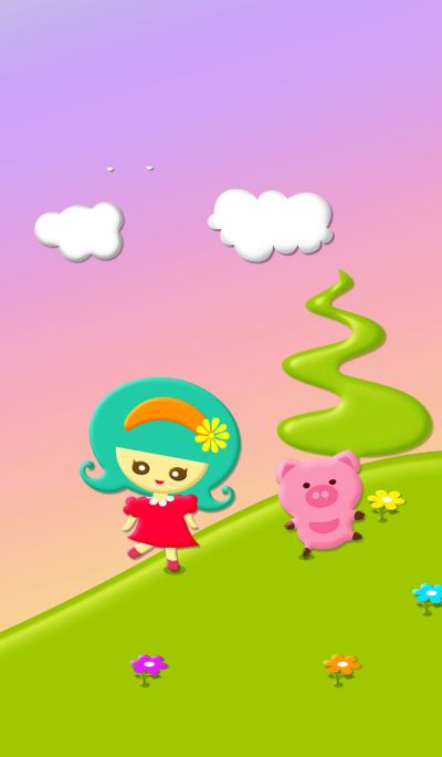 Cute girl and pig