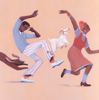 a black man and woman and two dogs dance with abandon