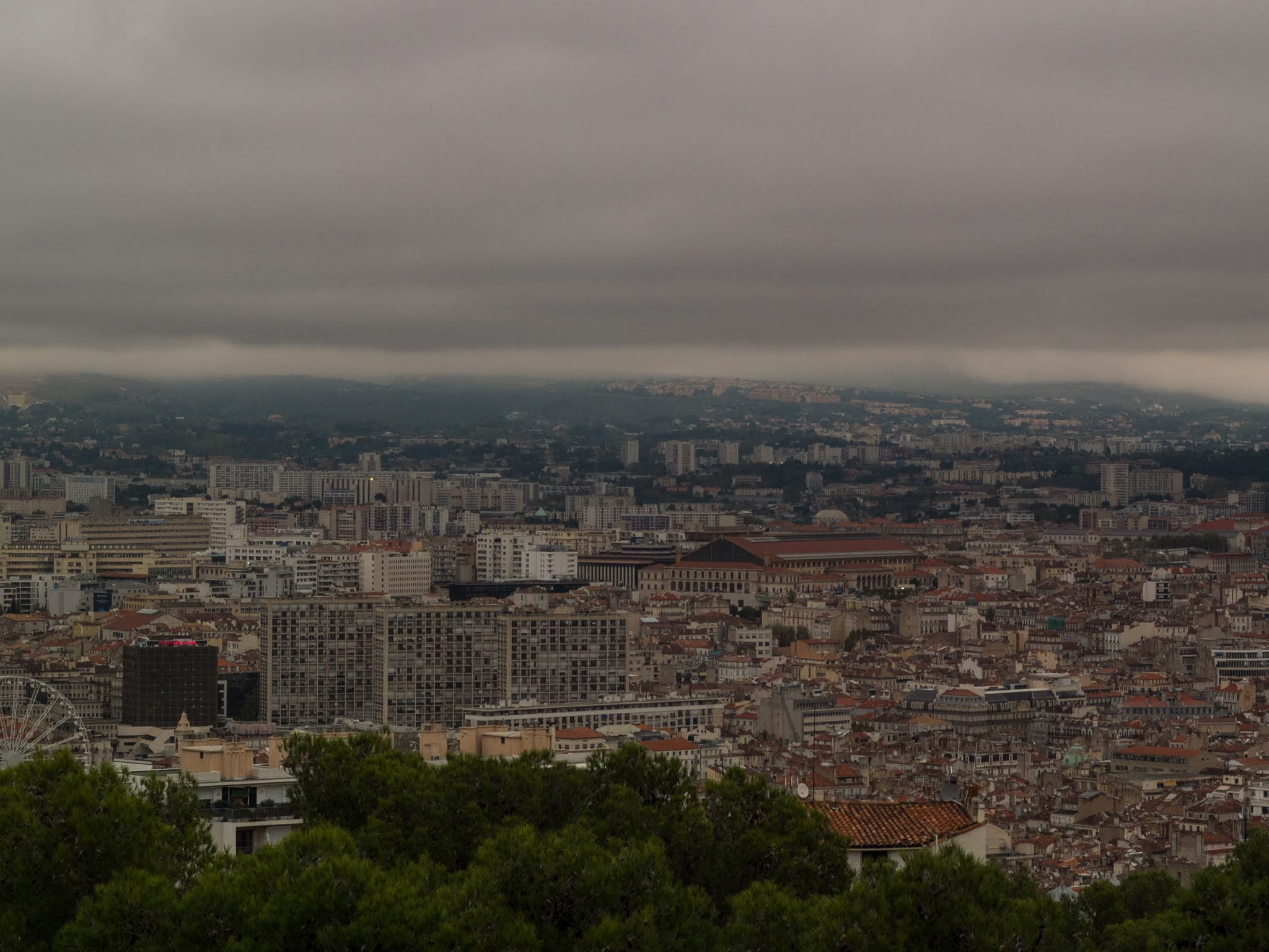 View of Marseille on an overcast day.